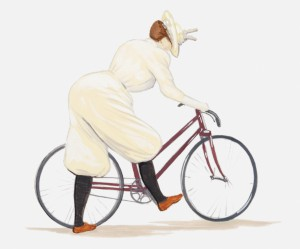 Illustration of Victorian woman wearing bloomers to ride bicycle